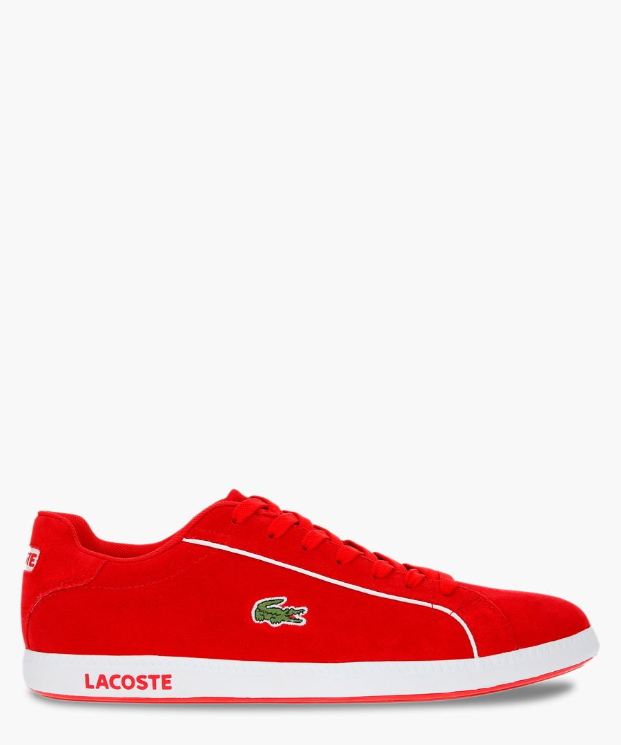 Graduate 219 red and white suede trainers