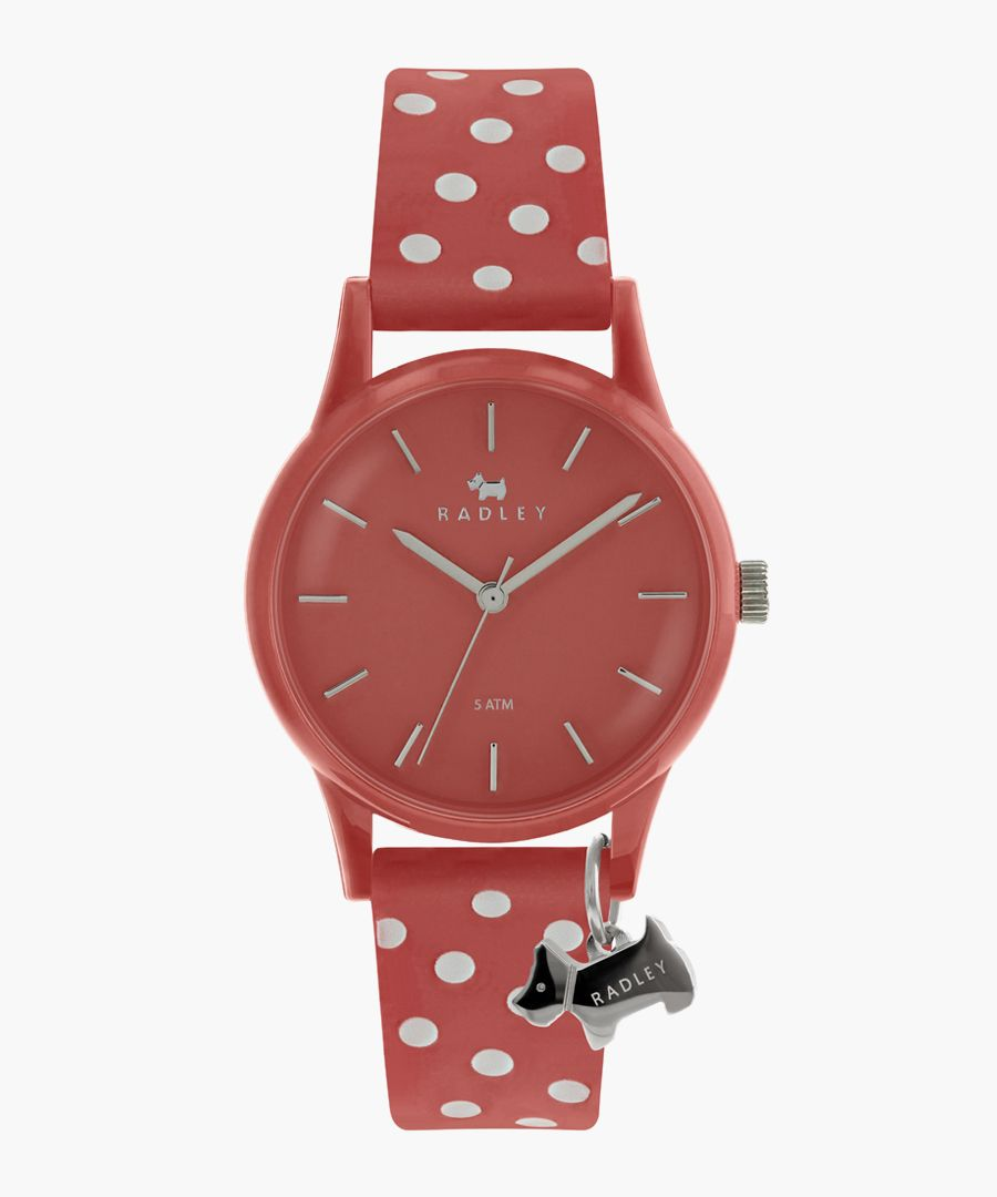Coral spotted strap silicone watch