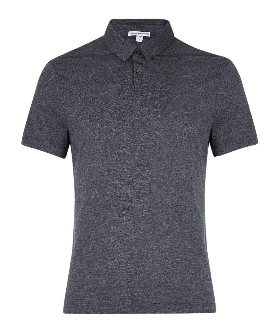 Anthracite cotton blend polo shirt