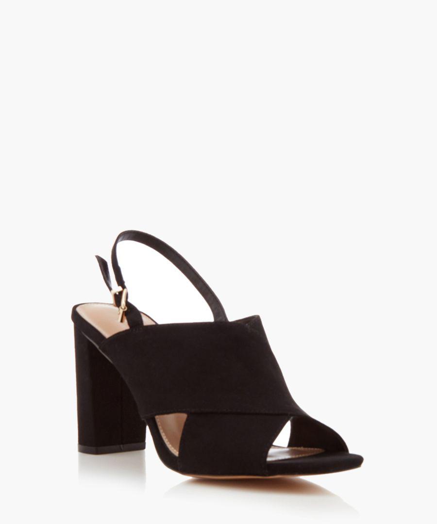 Arco black crisscross heeled sandals