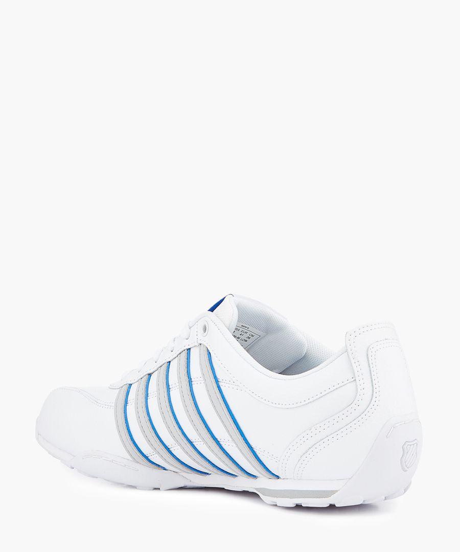 White and grey striped trainers