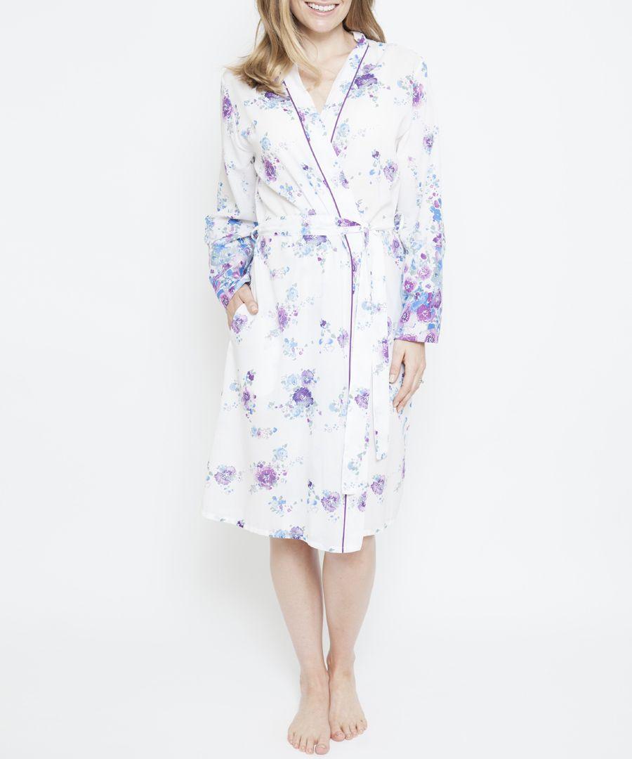 Andrea white cotton-blend floral print robe