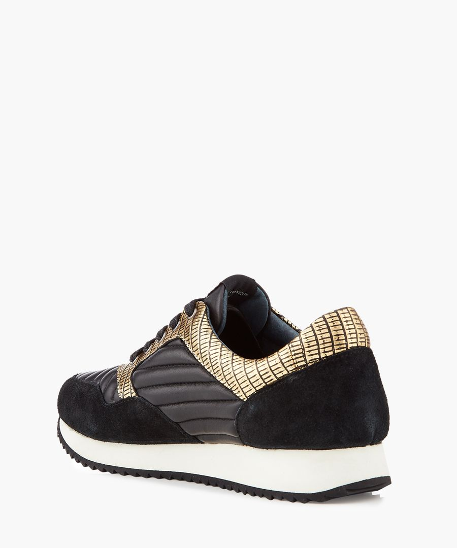 Runner black & gold-tone panel sneakers
