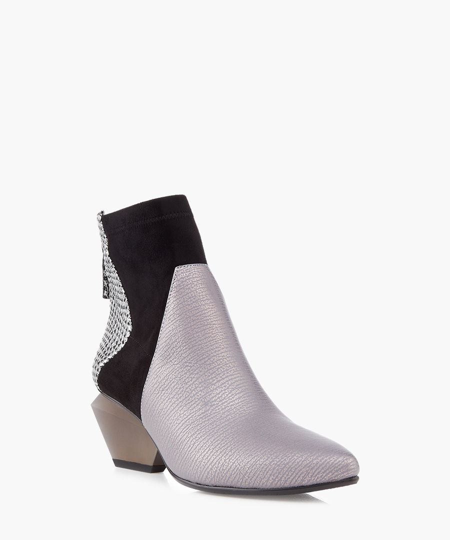 Greyscale panel cut-out ankle boots