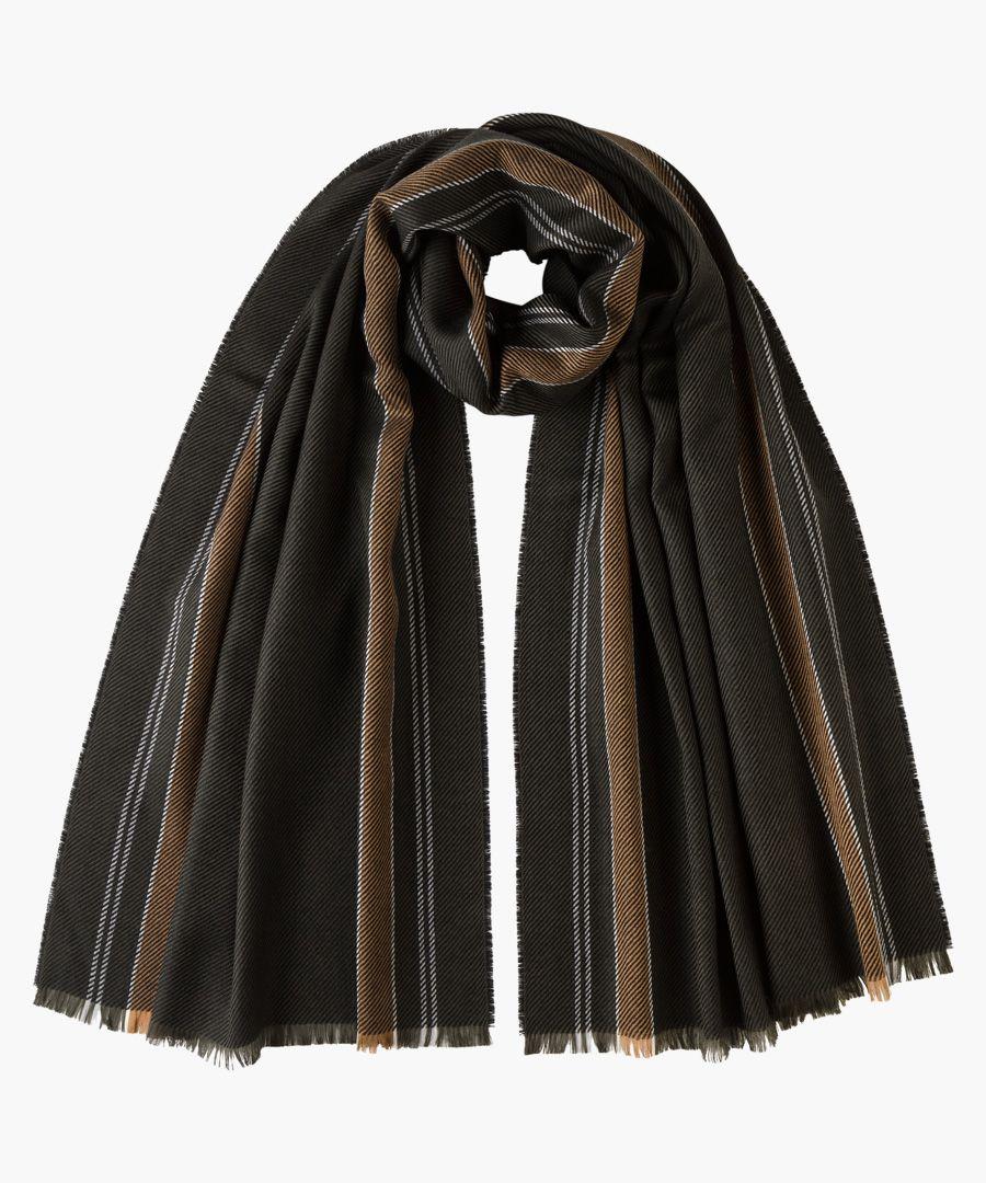 Brown stripes pure merino scarf