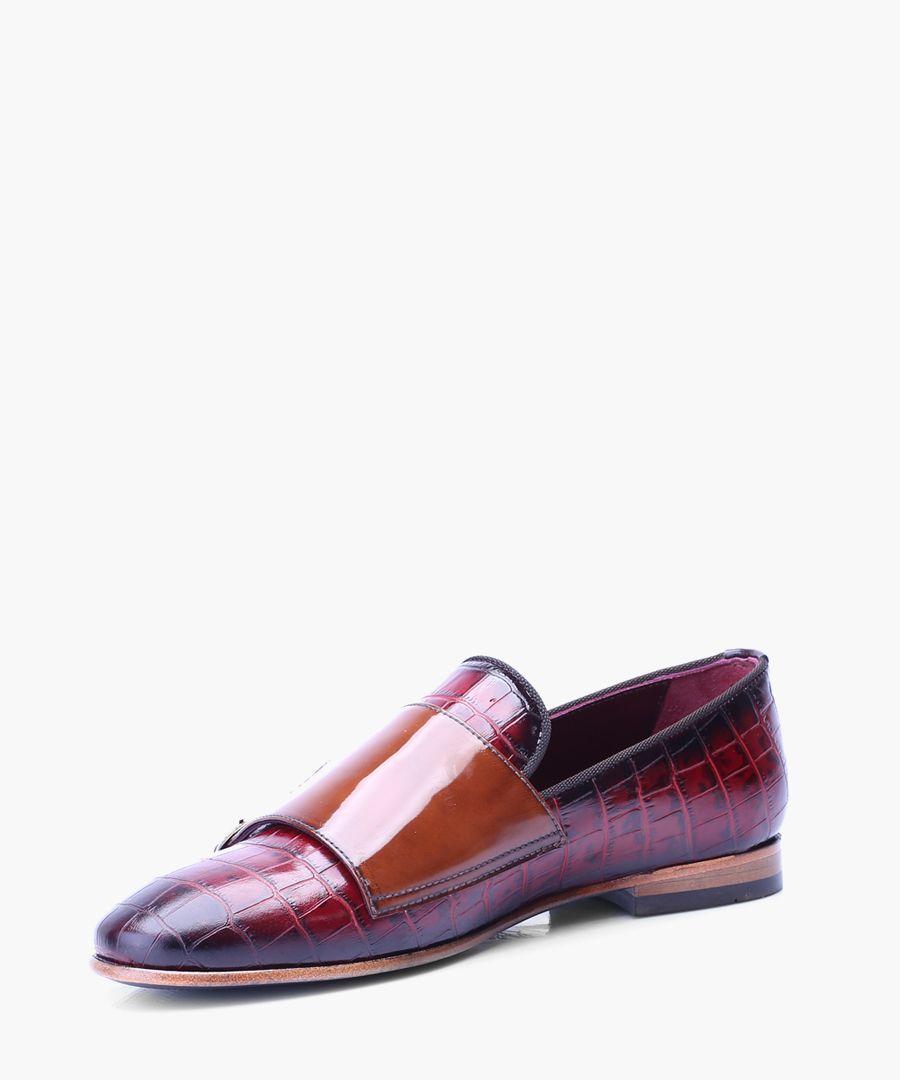 Bordeaux leather moc-croc loafers
