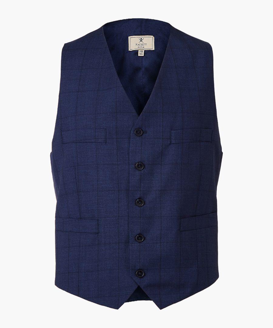 Steel blue wool waistcoat
