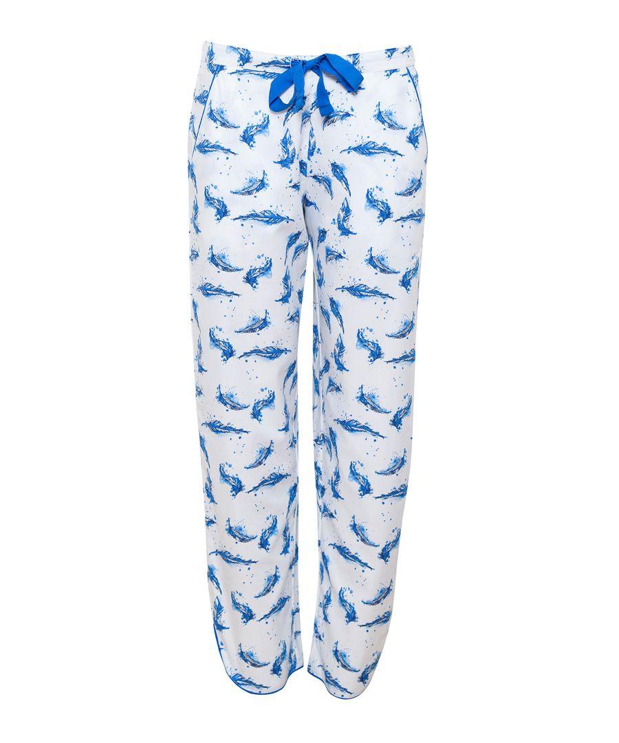 Amelia blue feather cotton-blend pyjama bottoms