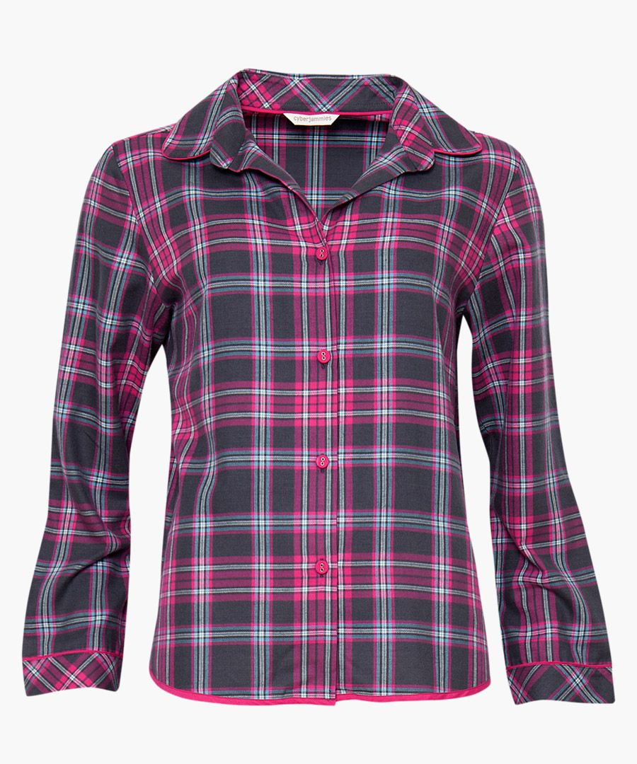 Black and red cotton-blend check pyjama shirt