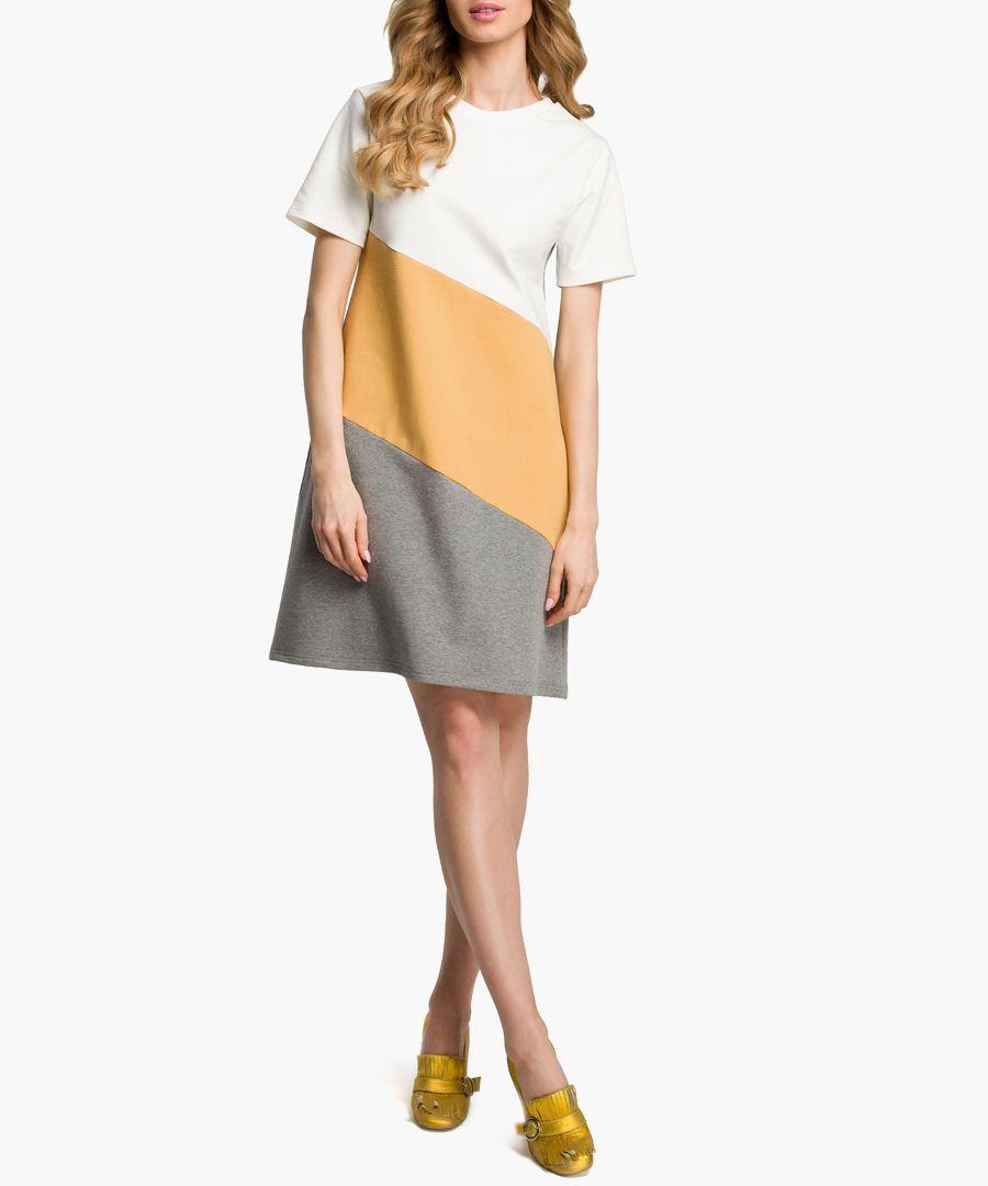 Grey & camel cotton blend T-shirt dress