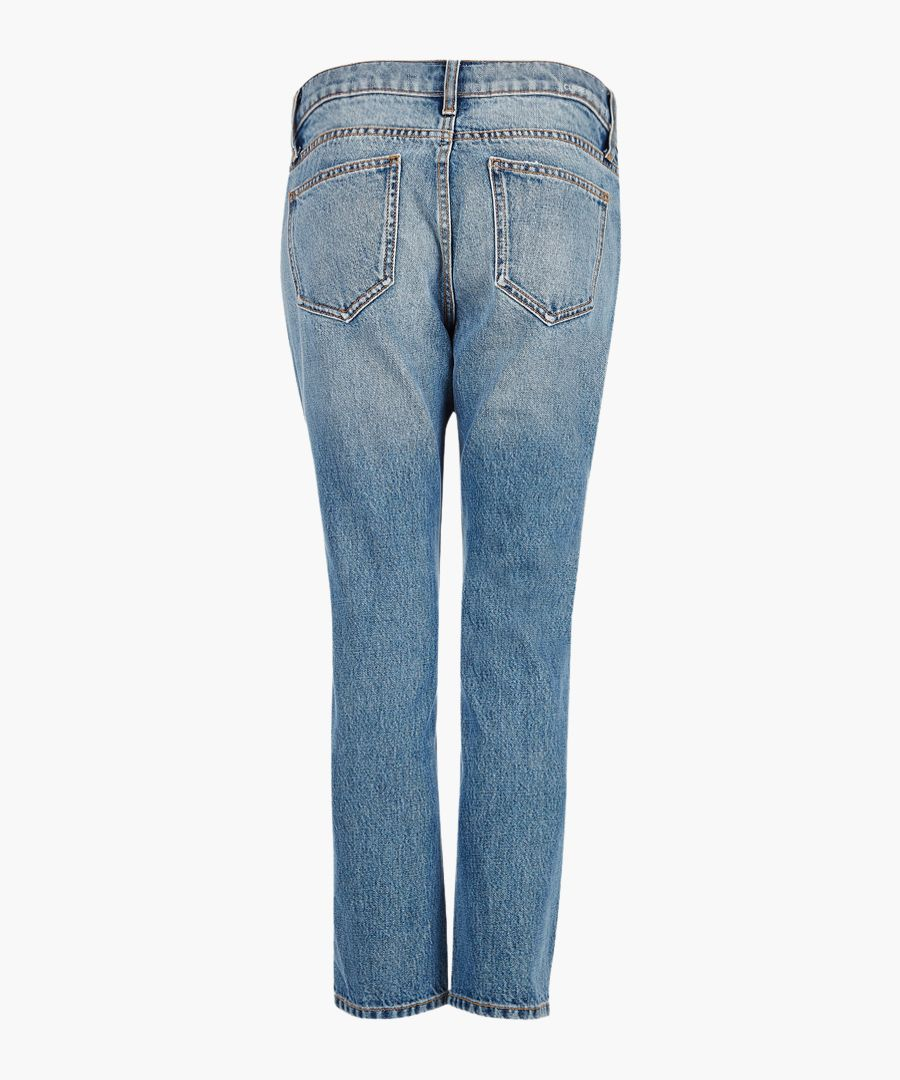 The cropped mid-wash straight jeans