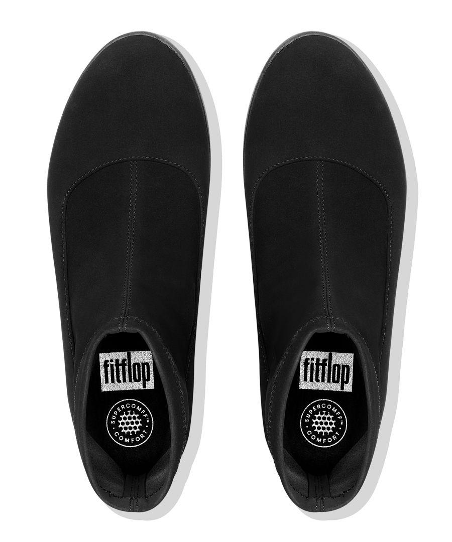 Ottie black faux-leather sock boots