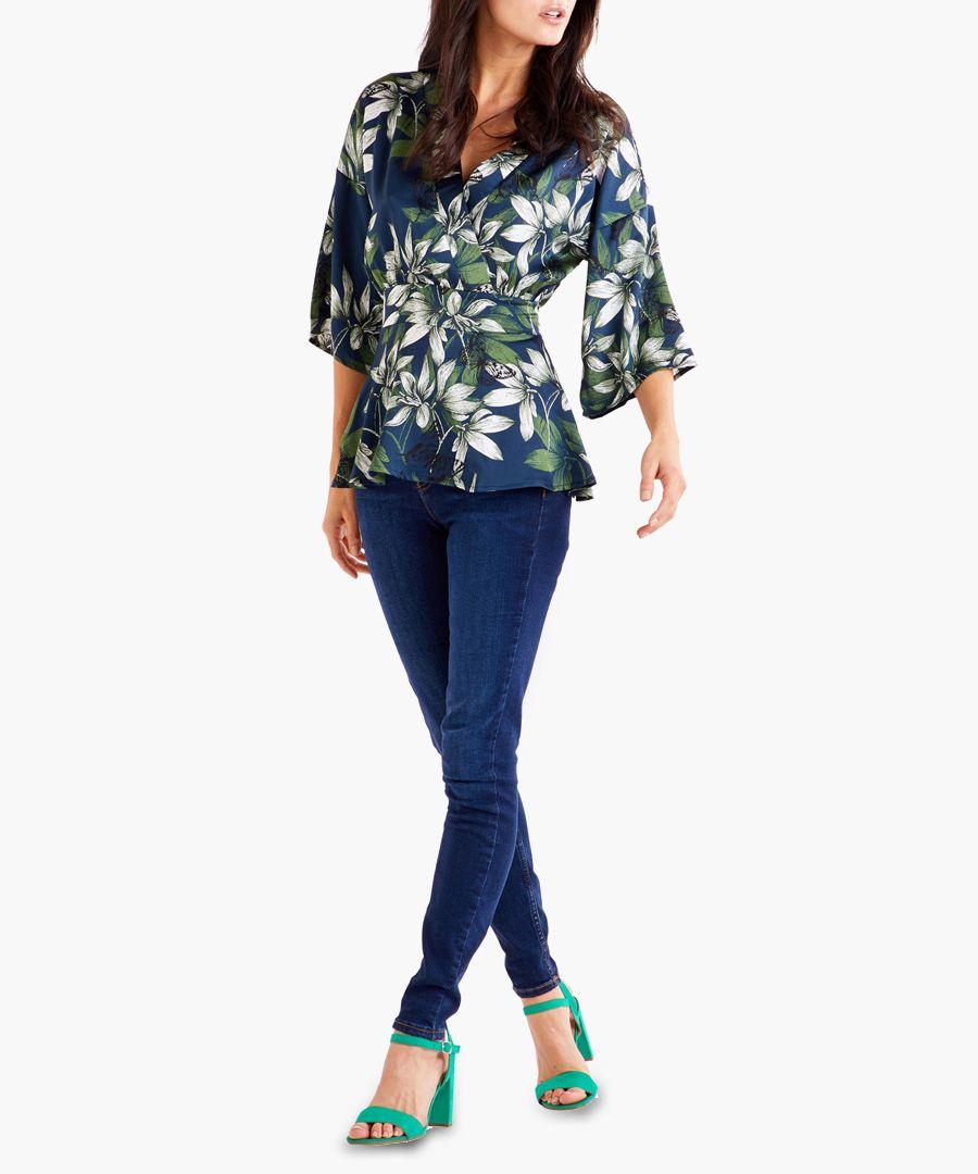 Navy floral printed blouse