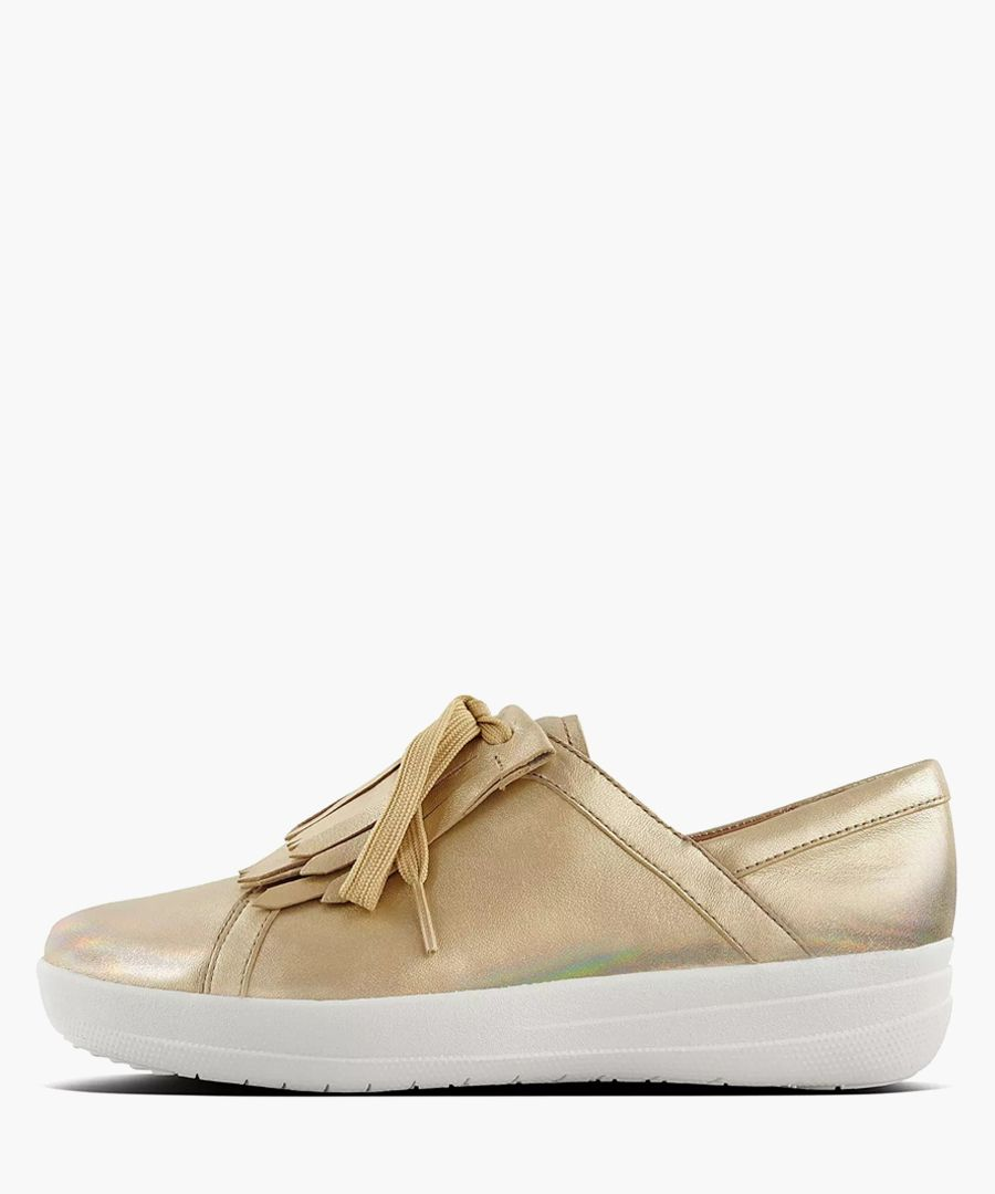 Gold-tone leather lace trainers