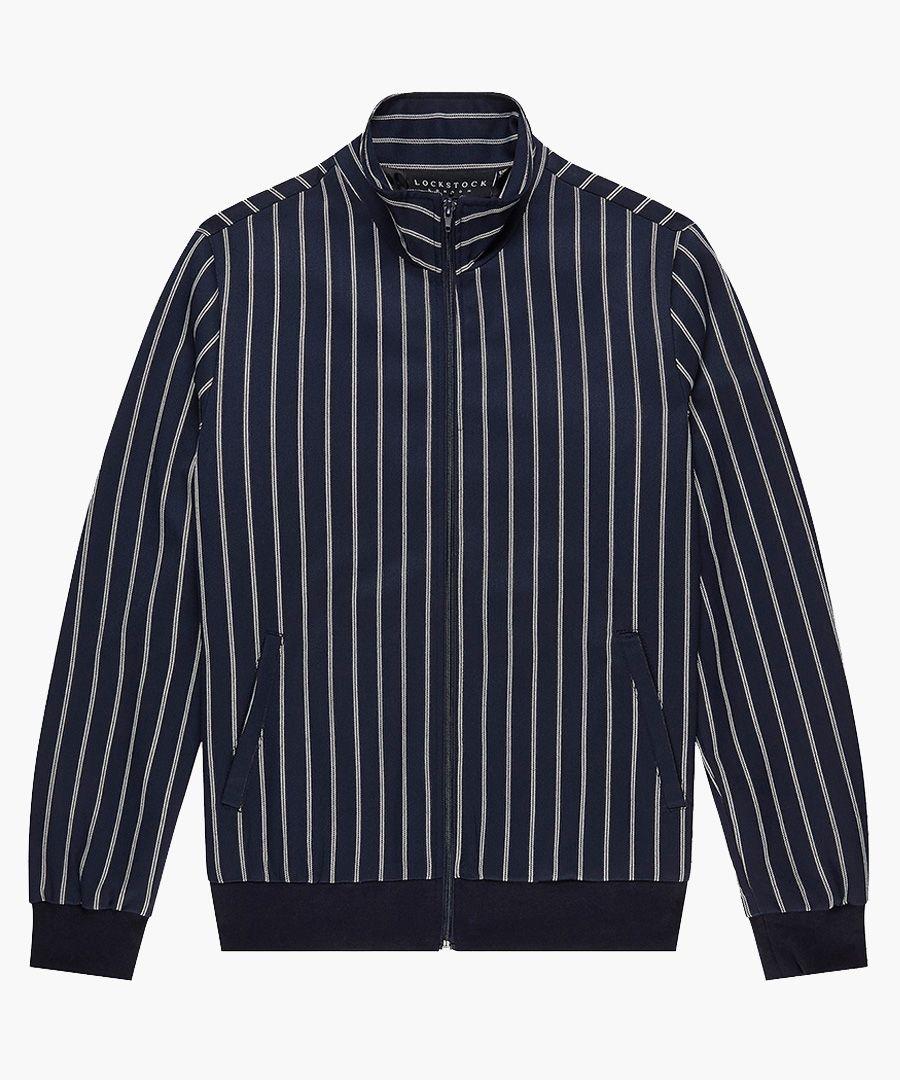 Navy striped bomber jacket