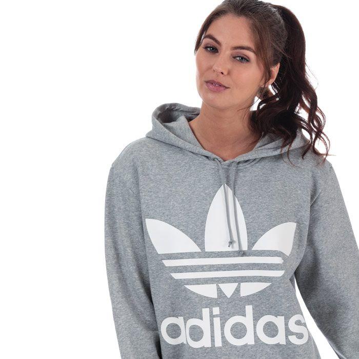 Women's adidas Originals Oversize Trefoil Hoody in Grey Marl