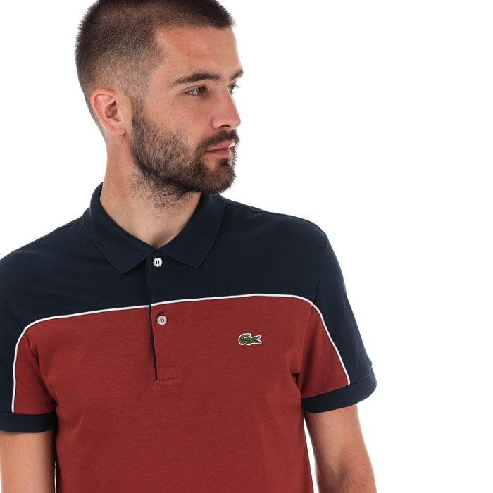 Men's Lacoste Regular Fit Colourblock Polo Shirt in Yellow navy
