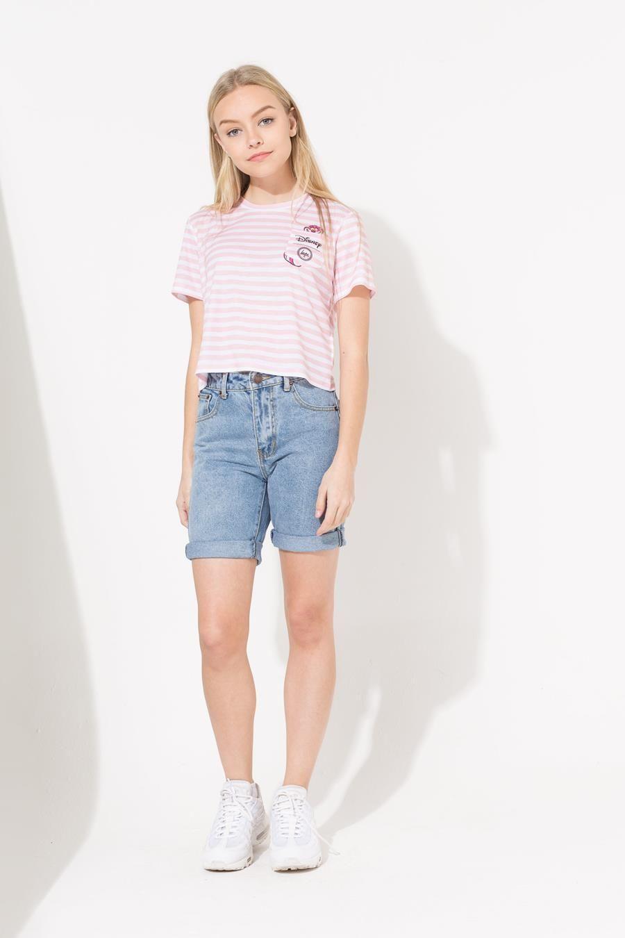 Hype Disney Pink Cheshire Cat Pocket Kids Crop T-Shirt