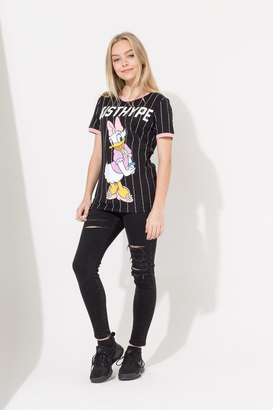 Hype Disney Black Daisy Sport Stripe Kids T-Shirt