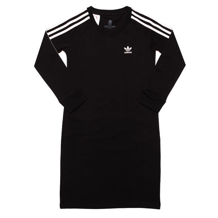 Girl's adidas Originals Junior 3-Stripes Dress in Black-White