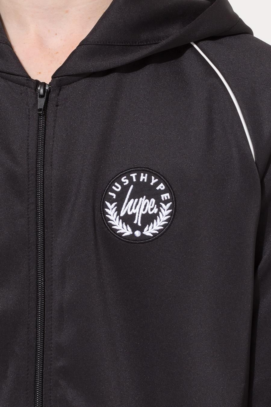 Hype Black Crest Piping Kids Track Jacket