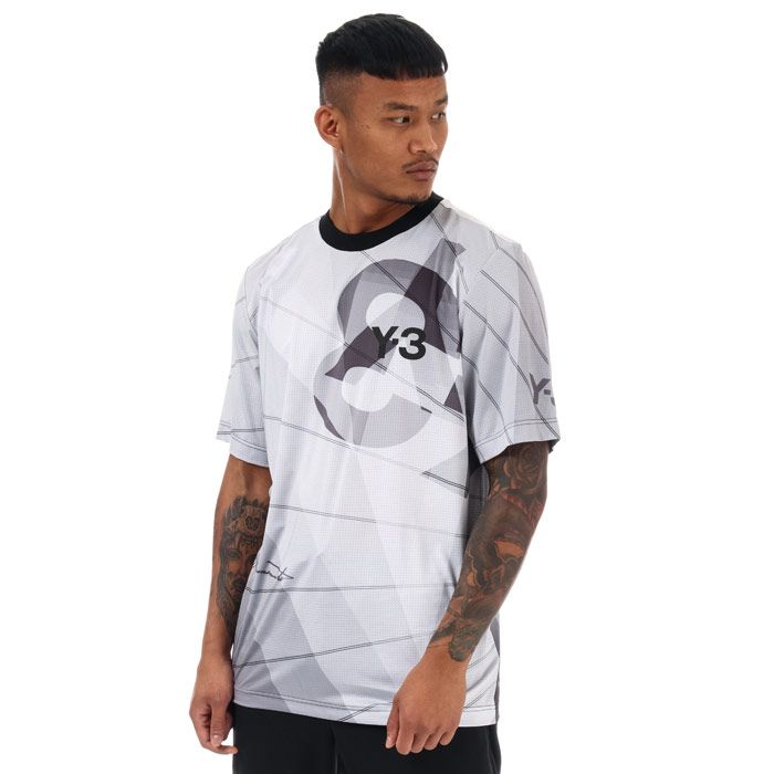 Men's Y-3 All Over Print Football Shirt in Light Grey