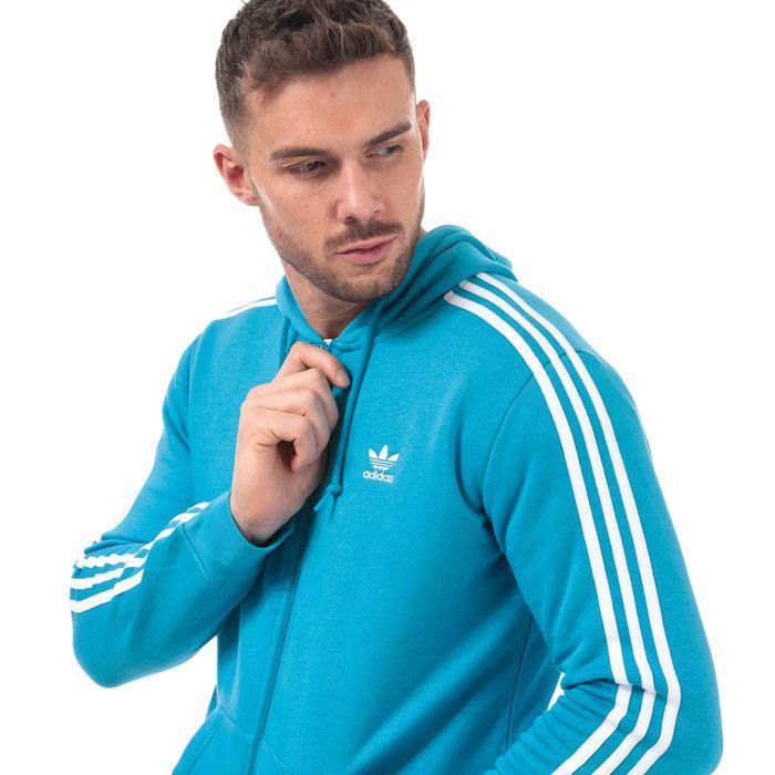 Men's adidas Originals 3 Stripes Full Zip Hoody in Blue