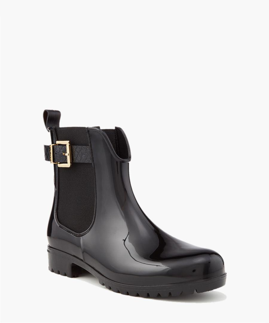 Wonder black buckle strap ankle boots