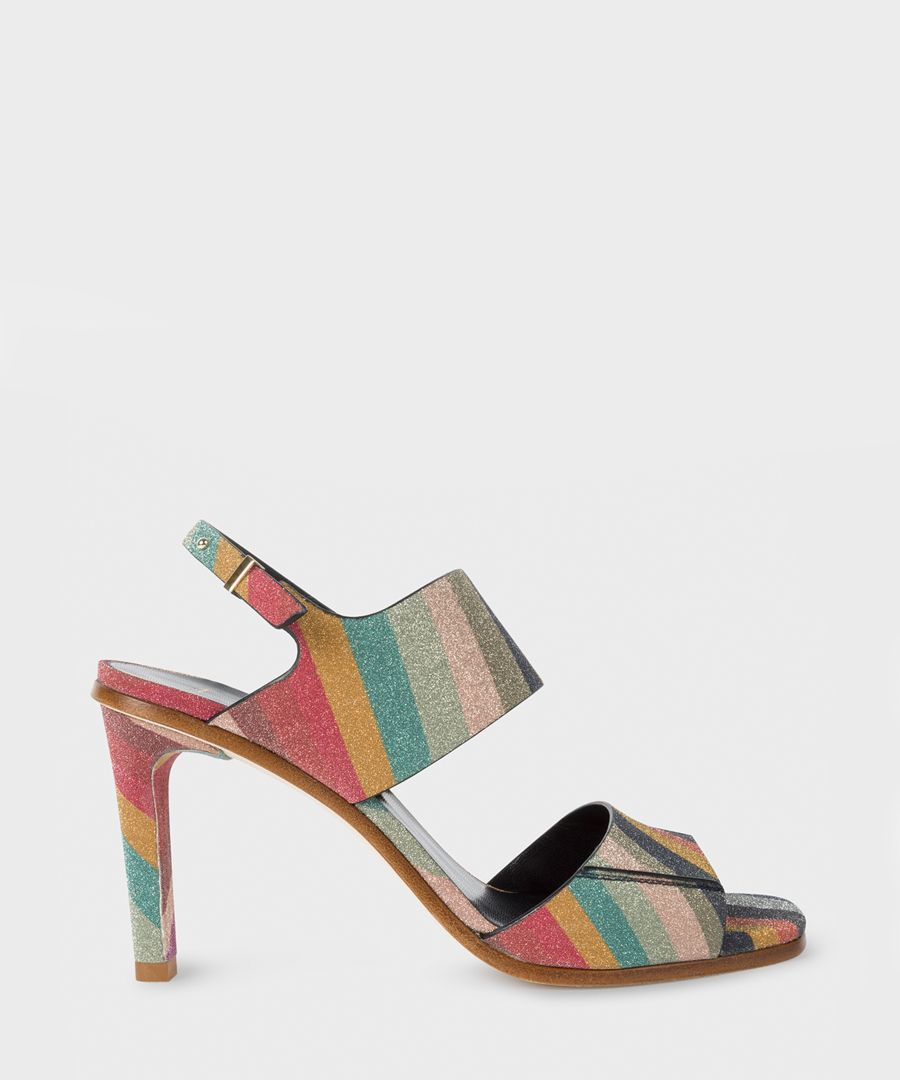 Multi-coloured leather patterned heels