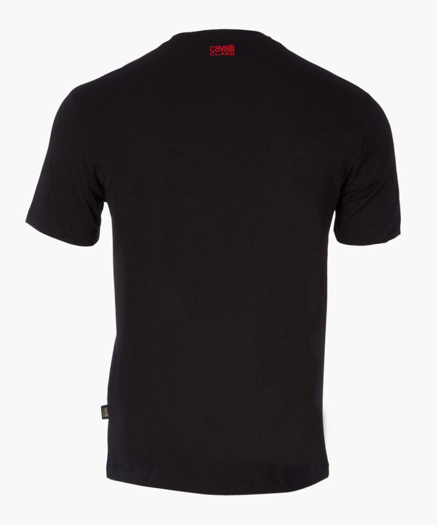 Black linear printed T-shirt