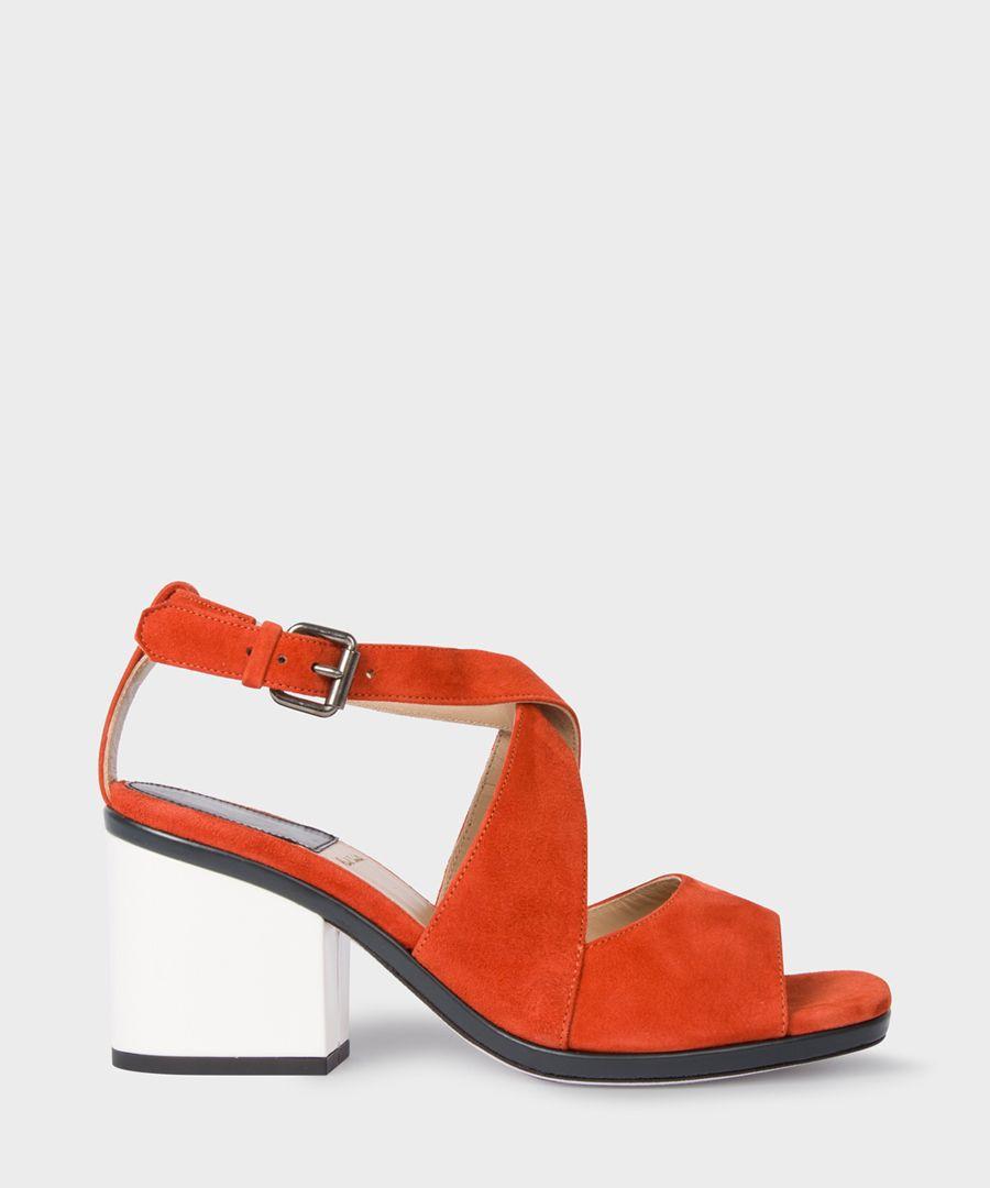 Deep rust suede open-toe block heels