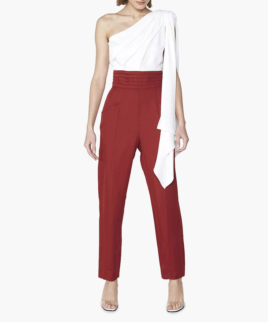 Lisson white and red one-shoulder jumpsuit