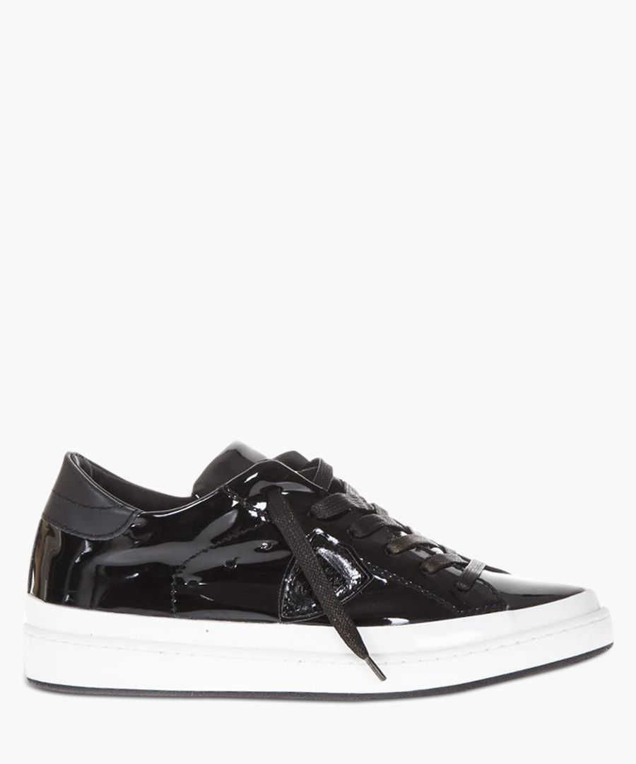 Patent black leather low-top sneakers