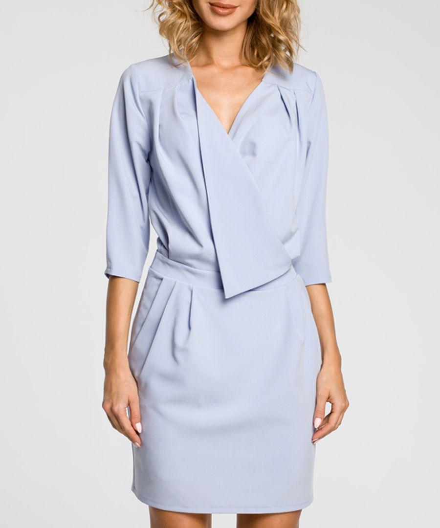 Light blue drape wrap dress