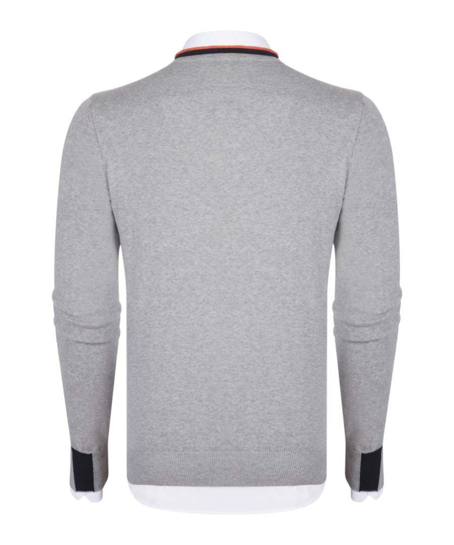 Grey melange pure cotton V-neck shirt