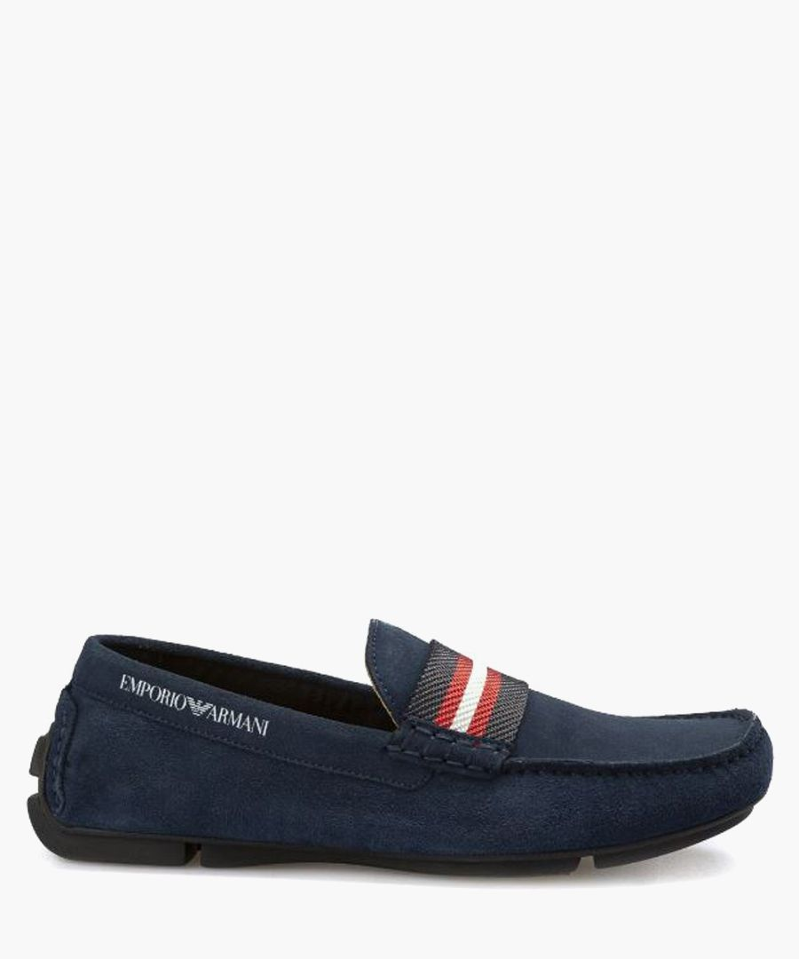 Midnight & red suede loafers