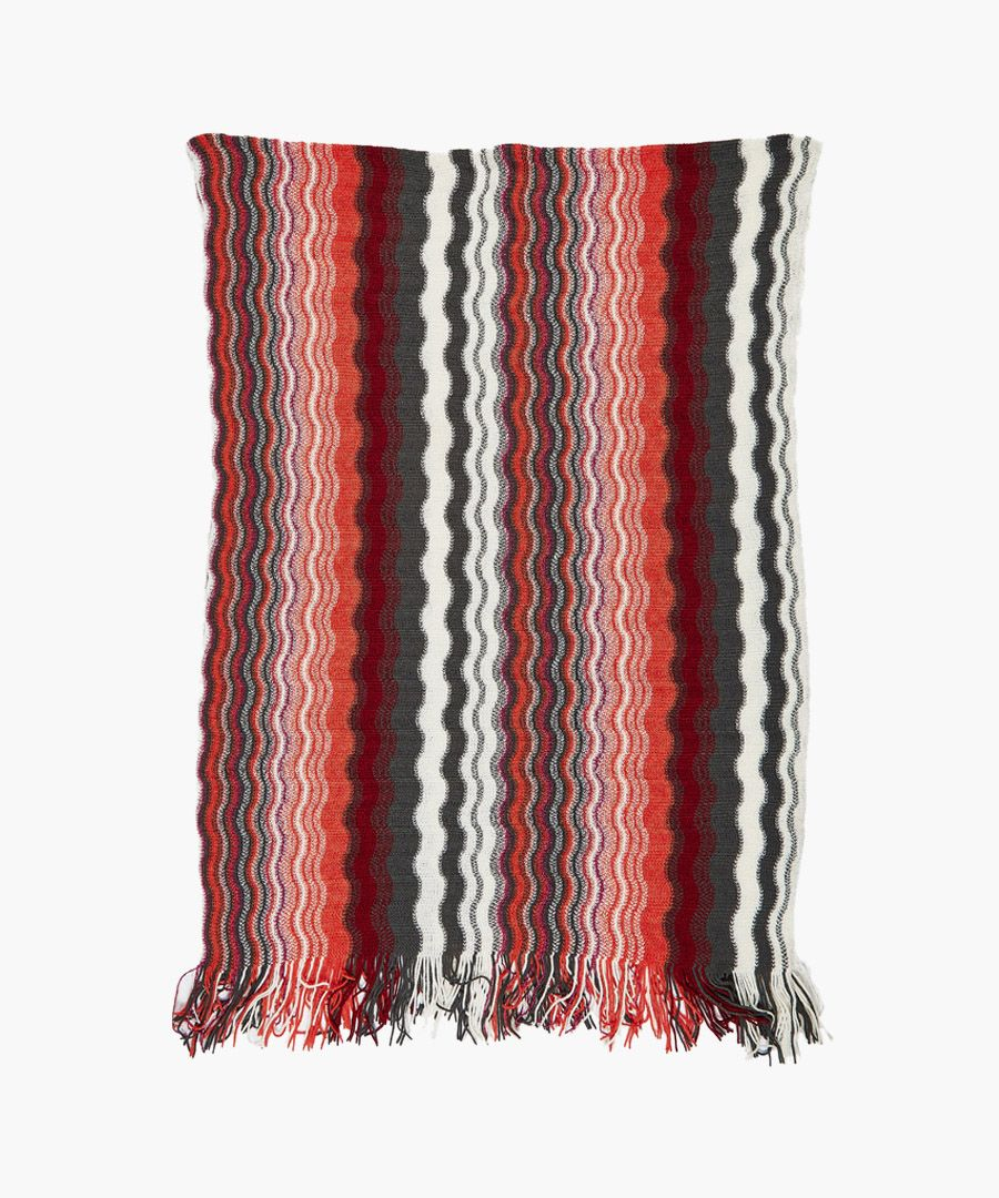 Multi-colour wool blend knit scarf