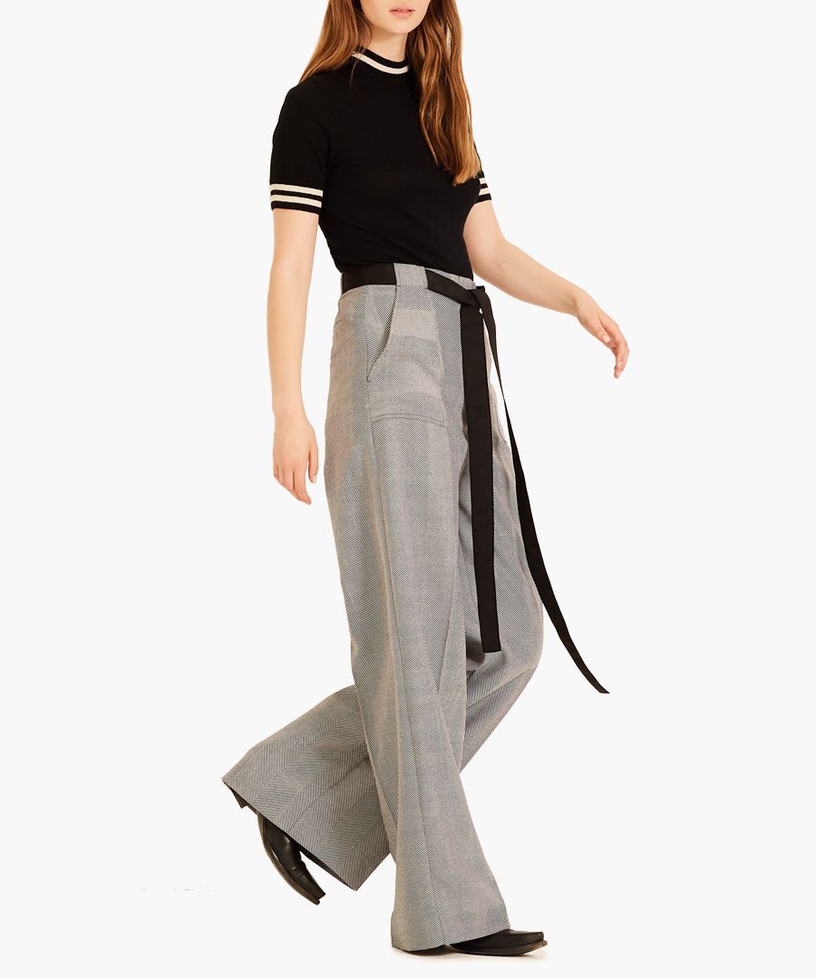 Black and white Herringbone trousers