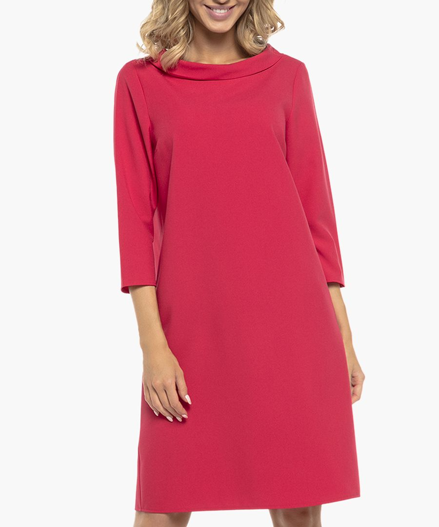 Raspberry three-quarter sleeve boat neck dress