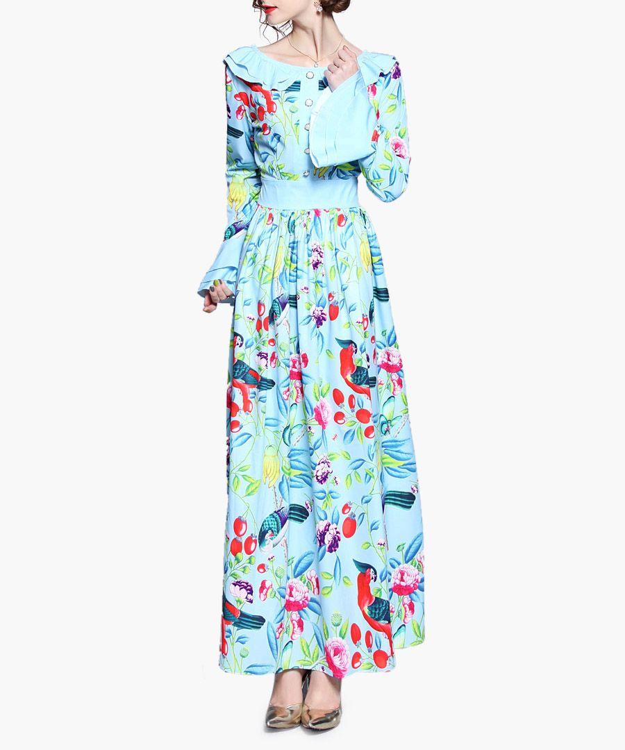 Aqua & pink print wide collar maxi dress
