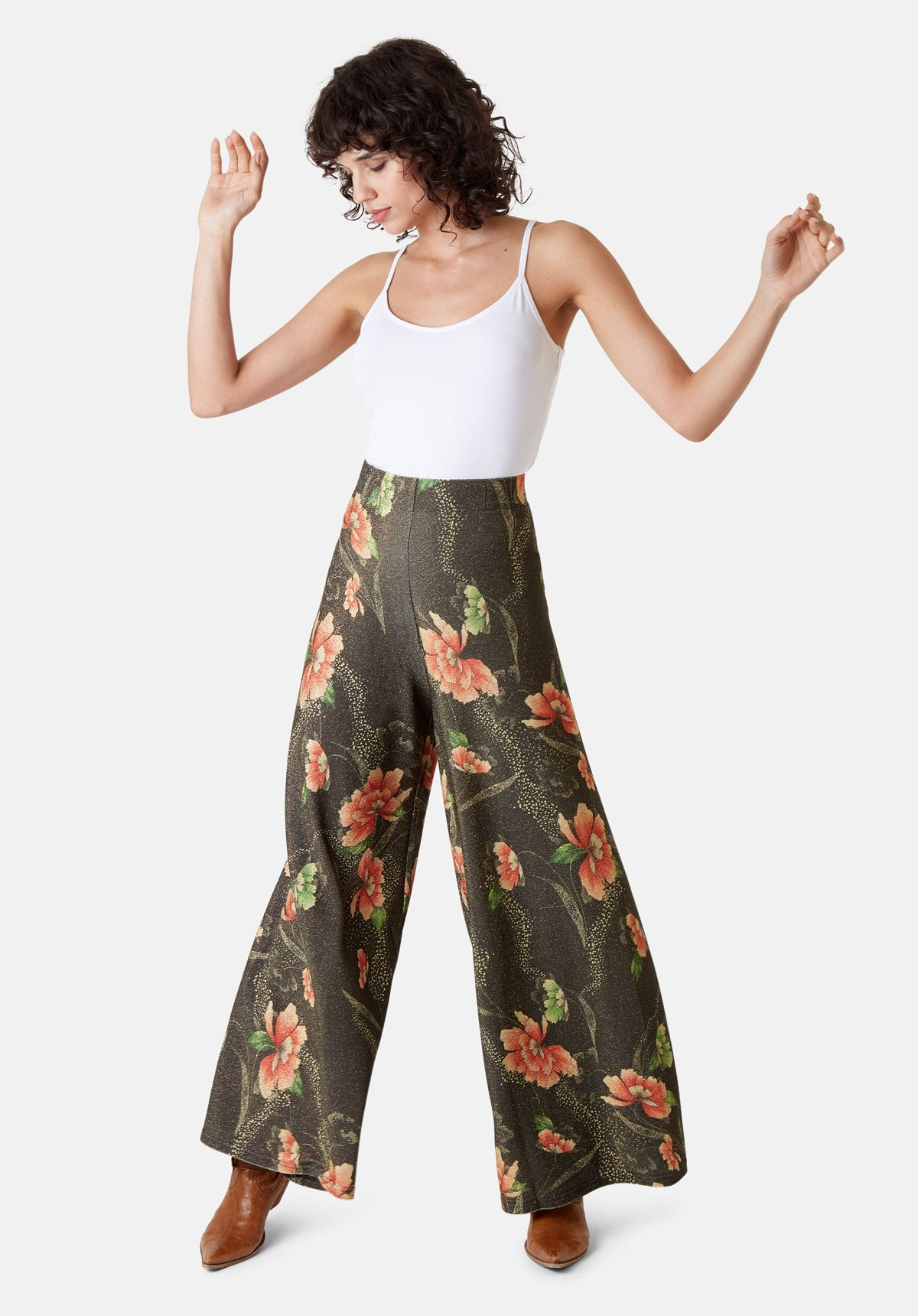 Eunices Closet Wide Leg Palazzo Trousers In Brown