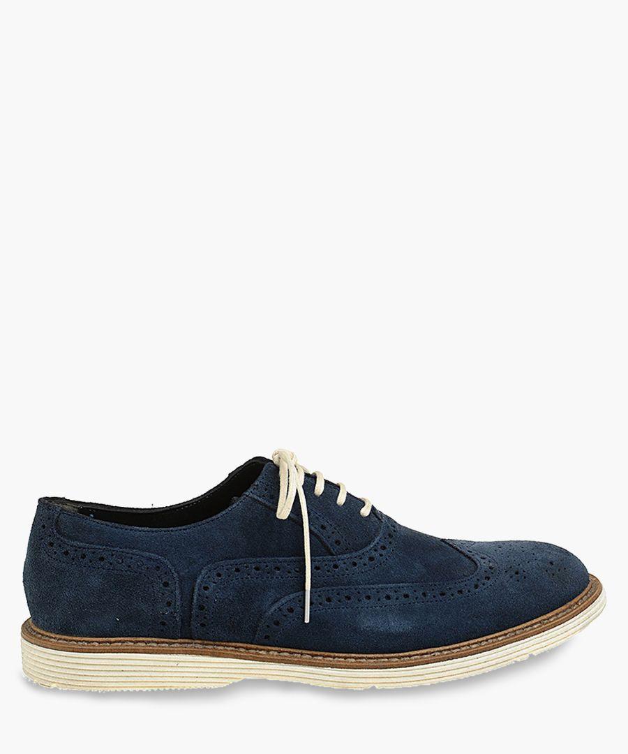 Navy blue suede contrast brogues