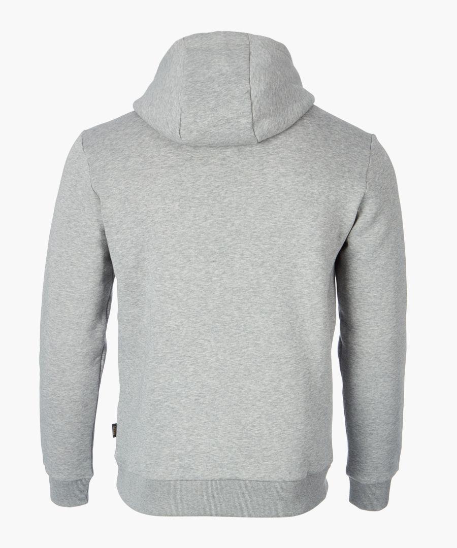 Grey logo printed hoodie