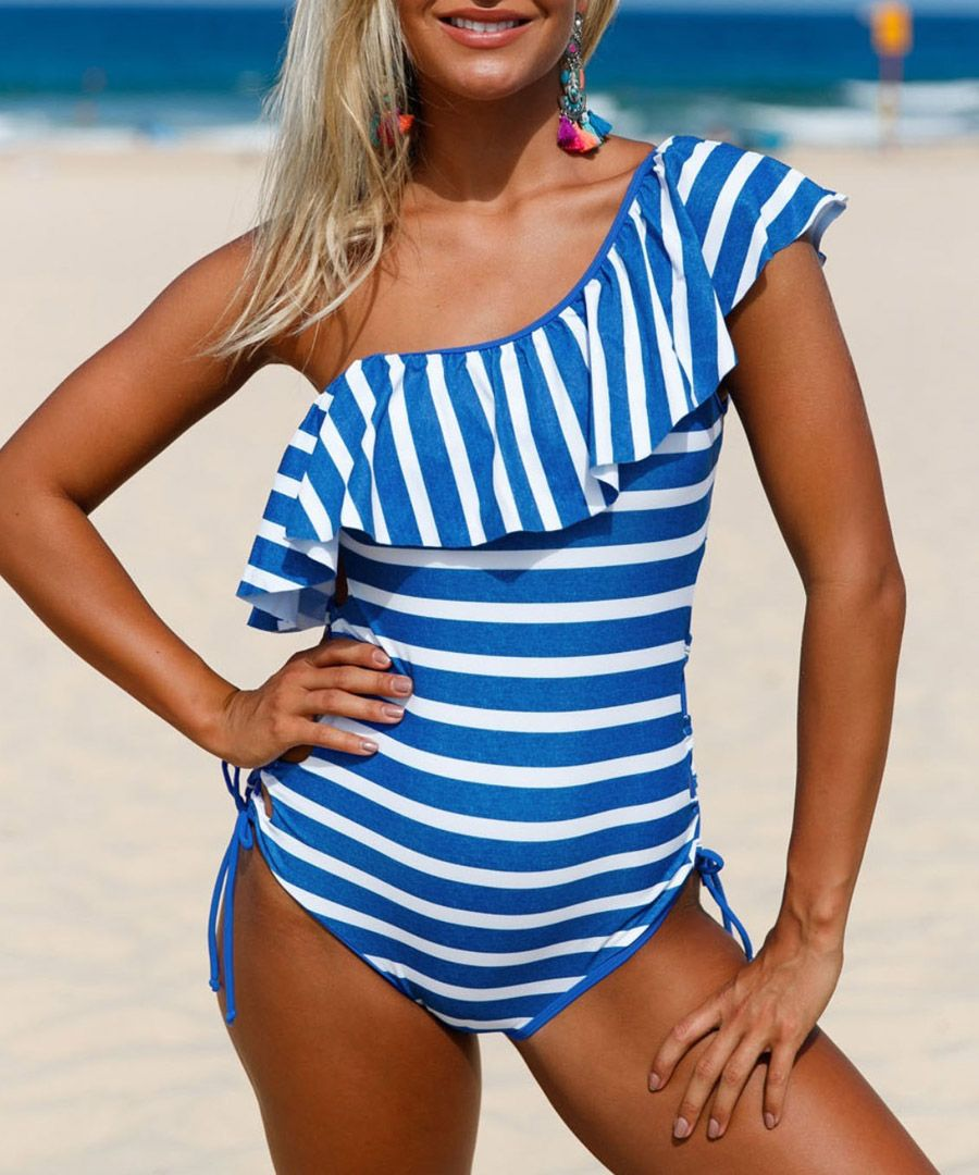 Blue & white one-shoulder swimsuit