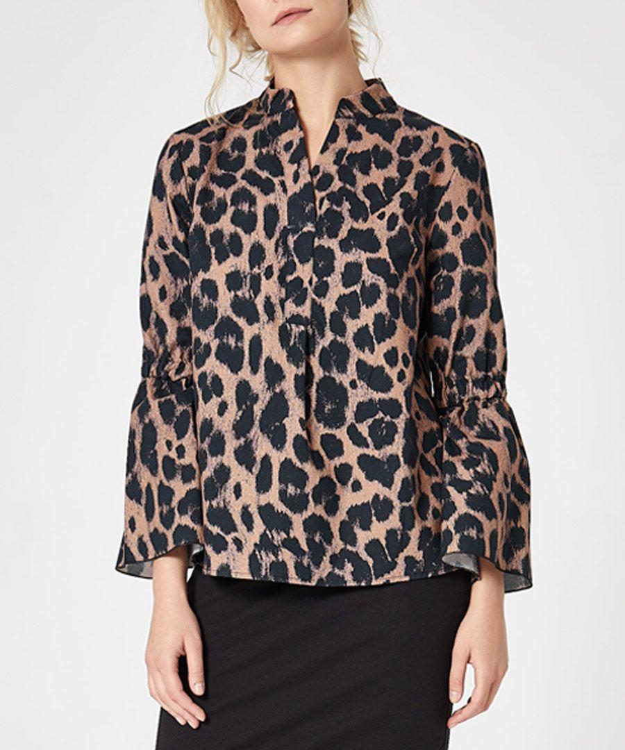 Leopard print bell sleeve shirt
