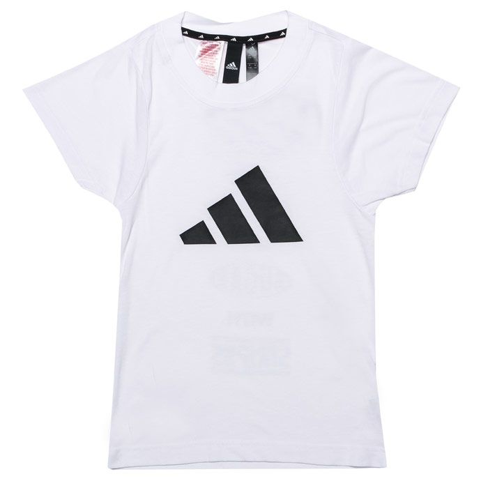 Girl's adidas Junior ID T-Shirt in White Black