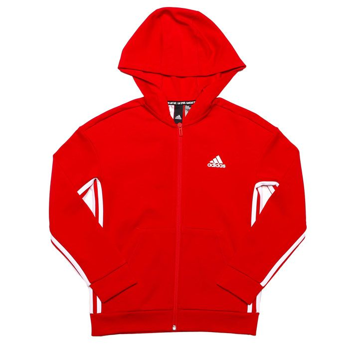 Boy's adidas Infant Must Haves 3-Stripes Zip Hoody in Red