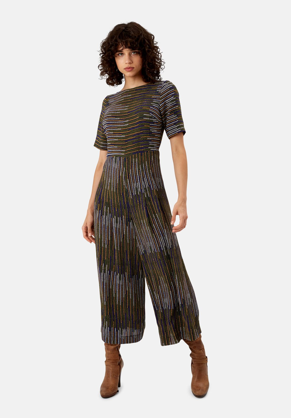 Bianca Pinstriped Jumpsuit in Mustard and Blue