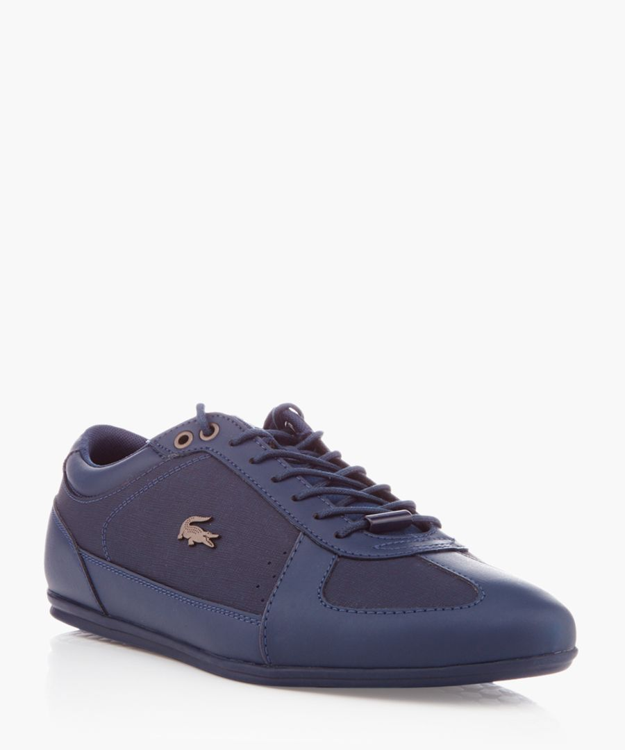 Evara navy leather trainers