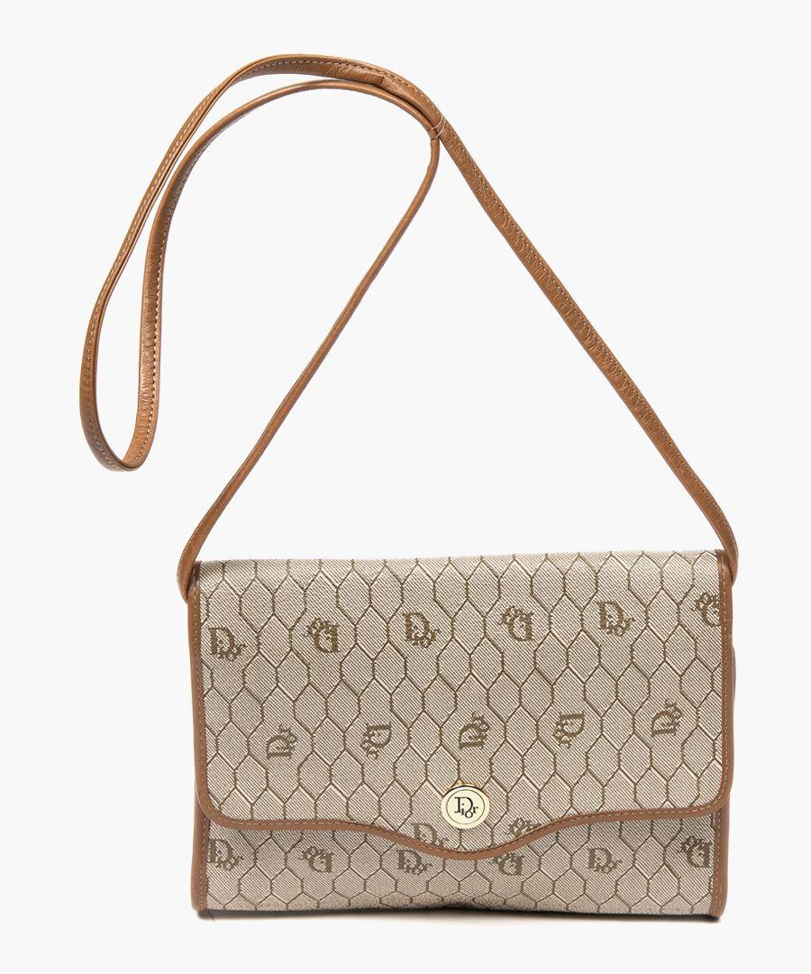 Vintage Flap beige canvas sling bag